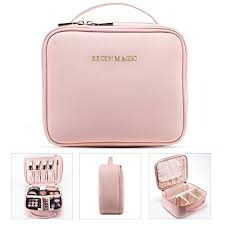 begin magic mini makeup train case portable makeup bag small cosmetic organizer case pink wl
