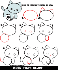 learn how to draw a cute kawaii kitty cat playing on a soccer ball simple steps drawing lesson for beginners