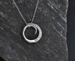 14k white gold diamond circle pendant free form pendant diamond swirl pendant anniversary gift ready to ship neckwear theresa pytell jewelry design