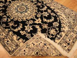handmade persian wool silk nain area rug ivory