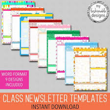 Class Newsletter Word Format Classroom Newsletter Templates 9 Designs Included Teacher Newsletter Instant Download