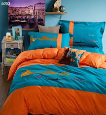 venice bedding set blue orange bedding cover water city linens 40s bed cover enbroidery bedding boat print home textile 5053 full size bedding set white