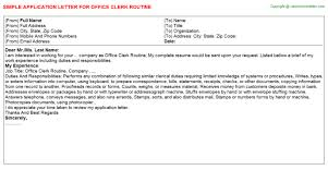 Operation Clerk Application Letters Samples Application Letters