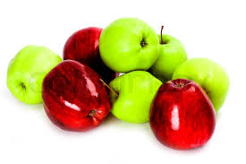 green and red apples. heap of green and red apples isolated on white background, stock photo