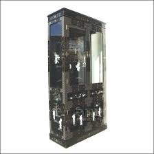 decoration white corner display cabinet with glass doors black oriental mother of pearl left view