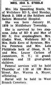 Obituary of Ruth's Mother Ida Steele - Newspapers.com