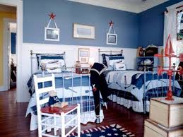 boys blue bedroom. Boy\u0027s Bedroom With Red And Blue Accents Striped Wallpaper View Boys B