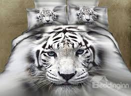 62 3d white tiger printed cotton 4 piece bedding sets duvet covers