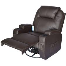 homcom luxury leather recliner sofa chair cinema massage chair rocking swivel heated nursing gaming chair brown co uk kitchen home