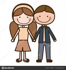 撮影の手の漫画茶色男の子髪と女の子おさげ髪髪型をシルエットの色します