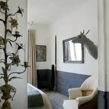 half painted walls in bold colors