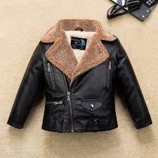 fleece thicken warm boys girls leather jacket with fur collar for autumn winter kids motor coat