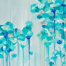 abstract painting gray aqua cerulean blue designer painting bright colors art canvas 20