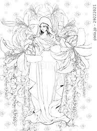 マリア像の塗り絵のイラスト素材 29222021 Pixta