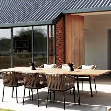 modern outdoor dining sets. Simple Outdoor Bitta Braided Modern Outdoor Dining Set 7 Piece To Sets E