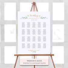 Greenery Seating Chart Printable Template