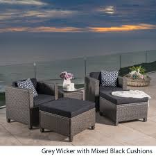 christopher knight home puerta grey outdoor wicker sofa set. Puerta 5-piece Outdoor Wicker Chat Set With Water Resistant Cushions By Christopher Knight Home - Free Shipping Today Overstock 20634175 Grey Sofa