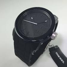 men s diesel blackout silicone band black watch dz1437