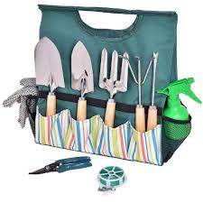 10 pcs gardening planting hand tools set carry bag
