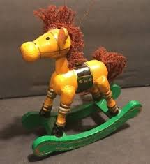 vintage rocking horse ornament tree figurine russ berrie