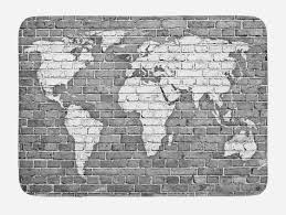 wander bath mat world map on old brick wall construction grunge antique stained abstract non slip plush mat bathroom kitchen laundry room decor
