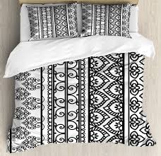 henna duvet cover set old vintage swirls leaf figures abstract artistic composition with vertical borders decorative bedding set with pillow shams