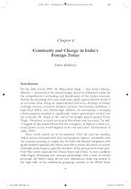 Pdf Continuity And Change In Indias Foreign Policy