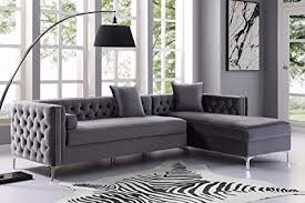 velvet tufted sectional. Plain Velvet Inspired Home Giovanni Grey Chaise Sectional Sofa  115u0026quot Right Facing   Velvet Tufted For E
