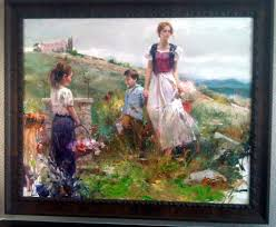 mother and children by pino original painting oil on canvas size 40 x 50