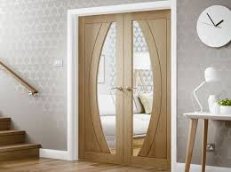 contemporary oak french door with glass