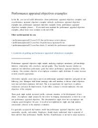 Personal Objectives Examples For Resumes Performance Appraisal Objectives Examples