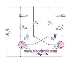 dual led flasher by 2n2907 electronic projects circuits 12 Volt Flasher Circuit Diagram simple flashing light by transistor bc548 12 volt led flasher circuit diagram