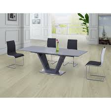 lorgato grey high gloss extending dining table 160cm to 220cm