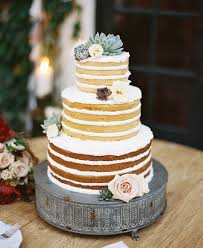 3 Tier Naked Wedding Cake With Succulents Deer Pearl Flowers