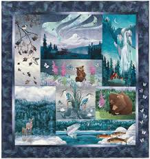 Aurora Ridge Complete Pattern Set & Quilt that shows scenes from the northwoods, with bears, fish, and elk in Adamdwight.com