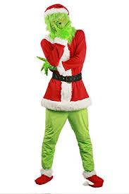 Grinch <b>Cosplay Costume</b> Green Mask Santa Hat Sock Full Set ...