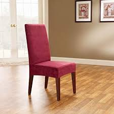 sure fit soft suede shorty dining room chair slipcover burgundy sf36674