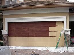 Make metal garage door look like wood