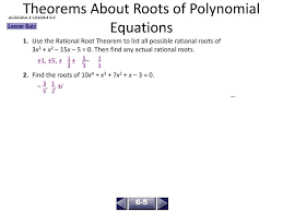 theorems about roots of polynomial equations 1 use the rational root theorem to list all possible rational