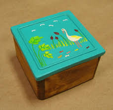 Decorative Wood Boxes With Lids Hand Crafted Keepsake Boxes Hand Painted Ceramic and Wood 59