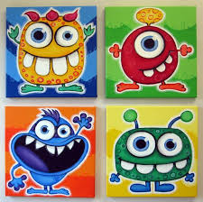 blue eyed monsters set of 4 12x12 original acrylic paintings for kids room or nursery