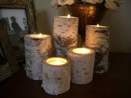 Birch bark log Candle holders tea lights set of 5 by dchampin