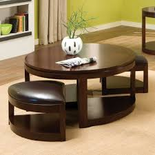 leather round coffee table ottoman affordable tables colored in brown made of wooden material with chair cocktail corbett storage tufted small rectangular