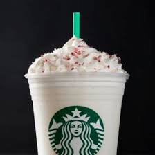 flavors of caramelized white chocolate are blended with milk and ice then topped with whipped cream and cand cranberry sugar and like the holidays