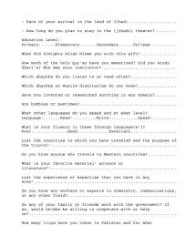 job application questions here is a real al qaeda job application you wont believe that last