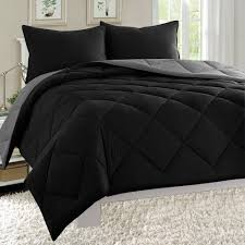 super soft goose down alternative 3 piece reversible comforter set all sizeany colors available king black gray silky soft 3pc comforter