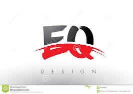 black brush colors design e eq letter logo q red ...
