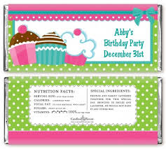 personalized chocolate bar wrappers cupcake trio personalized birthday party candy bar wrappers