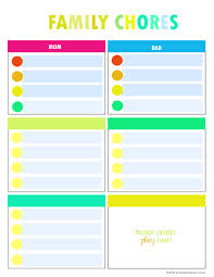 Family Chore Chart Template Colorful Family Chore Chart Template Download Printable Pdf