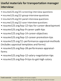 15 useful materials for transportation manager sample transportation management resume
